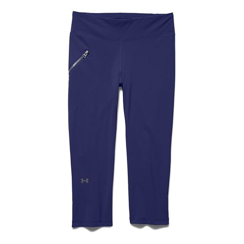 Womens Under Armour Stunner Stretch Woven Capri Tights - Europa Purple M
