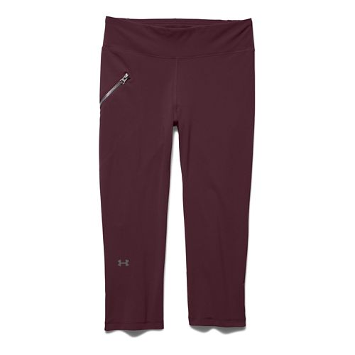 Womens Under Armour Stunner Stretch Woven Capri Tights - Ox Blood M