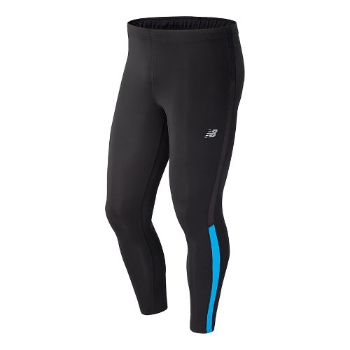Mens New Balance Accelerate Full Length Tights - Black/Bolt L