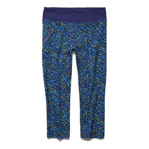 Womens Under Armour Stunner Printed Woven Capri Tights - Europa Purple L