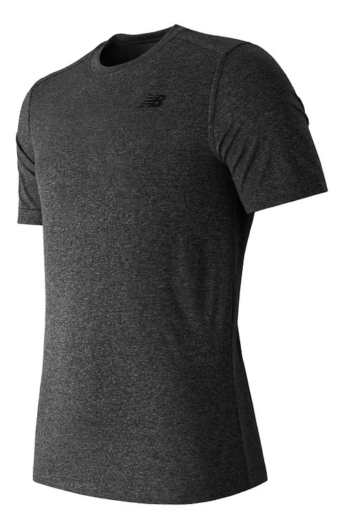 Mens New Balance Heather Tech Tee Short Sleeve Technical Tops - Black Heather L