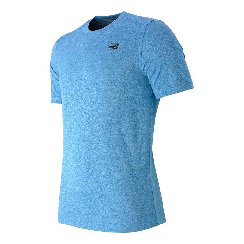 Mens New Balance Heather Tech Tee Short Sleeve Technical Tops - Bolt S
