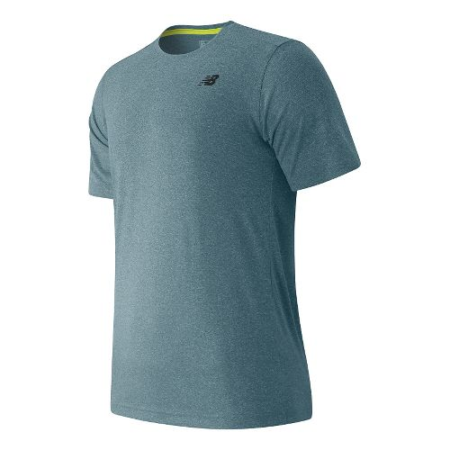 Mens New Balance Heather Tech Tee Short Sleeve Technical Tops - Riptide Heather M