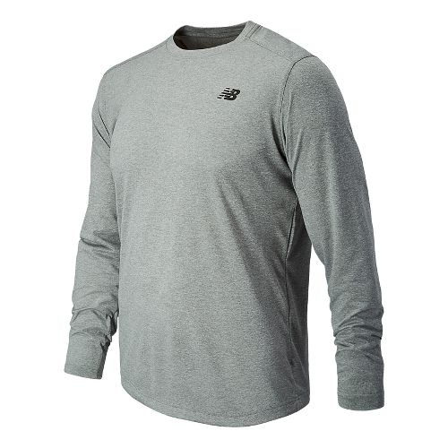 Mens New Balance Long Sleeve Heather Tech Tee Technical Tops - Athletic Grey S