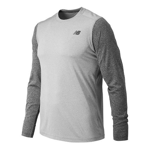 Mens New Balance Heather Tech Tee Long Sleeve Technical Tops - Athletic Grey/Black L