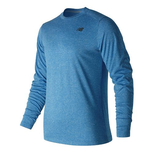 Mens New Balance Heather Tech Tee Long Sleeve Technical Tops - Blue Heather XL