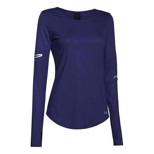 Womens Under Armour Charged Wool Long Sleeve No Zip Technical Tops - Europa Purple M