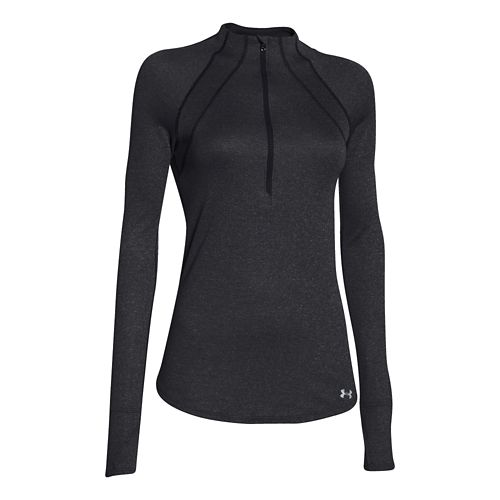 Womens Under Armour Charged Wool Long Sleeve Half Zip Technical Tops - Black XL