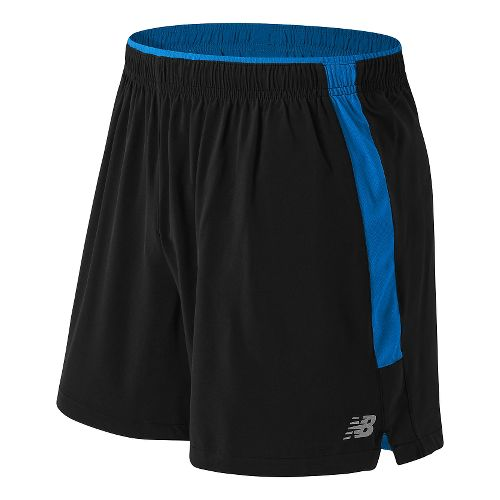 Mens New Balance Impact 5 Track Lined Shorts - Black/Bolt XL