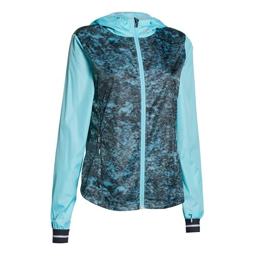 Womens Under Armour Storm Layered Up Printed Jacket Running Jackets - Veneer/Black M