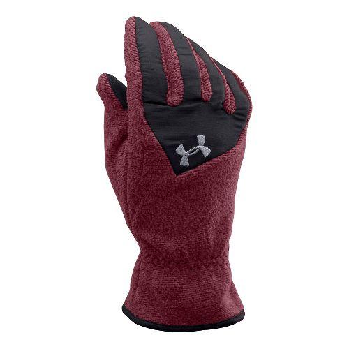 Mens Under Armour Survivor Fleece Glove Handwear - Deep Red/Steel L