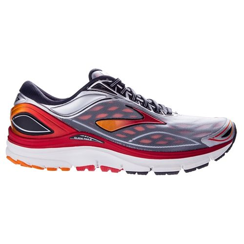 Mens Brooks Transcend 3 Running Shoe - Silver/Red 10.5