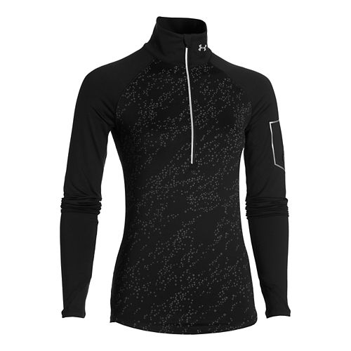 Womens Under Armour Fly Fast Luminous Long Sleeve Half Zip Technical Tops - Black XS ...