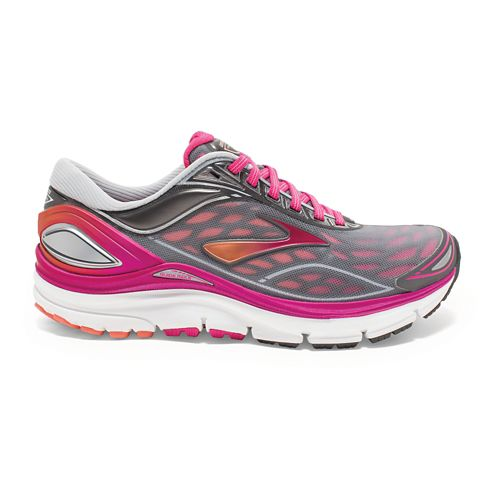 Womens Brooks Transcend 3 Running Shoe - Silver/Pink 5