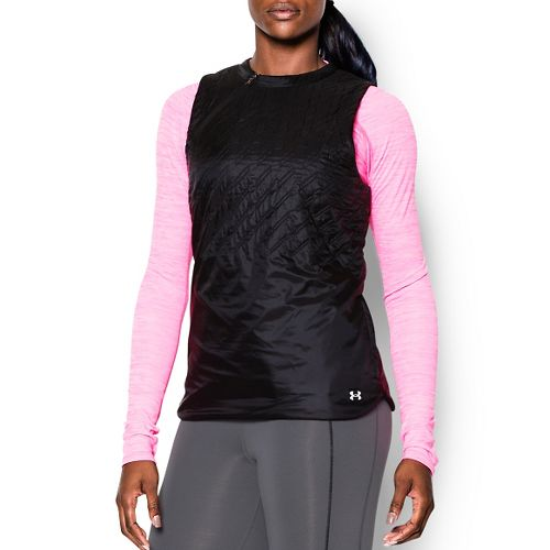 Womens Under Armour Aerial Speed Quilted Outerwear Vests - Black/Black M
