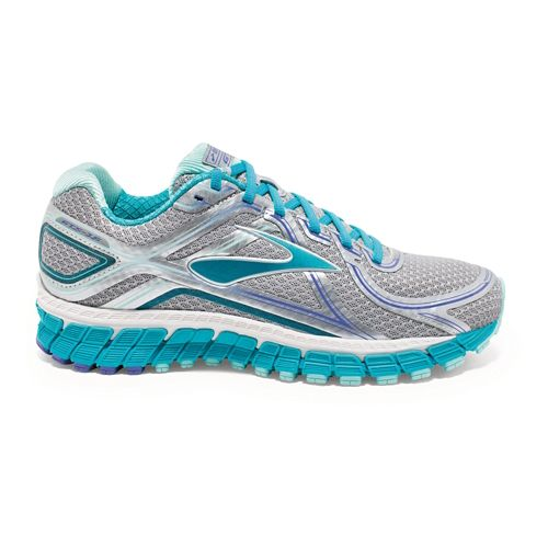 Womens Brooks Adrenaline GTS 16 Running Shoe - Silver/Blue 5.5