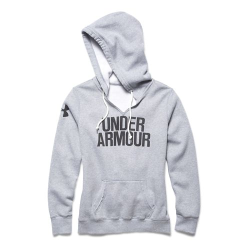 Womens Under Armour Favorite Fleece Wordmark Hoodie & Sweatshirts Technical Tops - True Grey ...