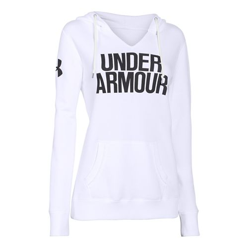 Womens Under Armour Favorite Fleece Wordmark Hoodie & Sweatshirts Technical Tops - White/Black M