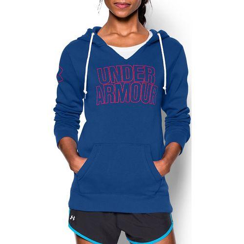 Womens Under Armour Favorite Fleece Wordmark Hoodie & Sweatshirts Technical Tops - Cobalt XS