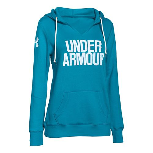 Womens Under Armour Favorite Fleece Wordmark Hoodie & Sweatshirts Technical Tops - Pacific/White XS