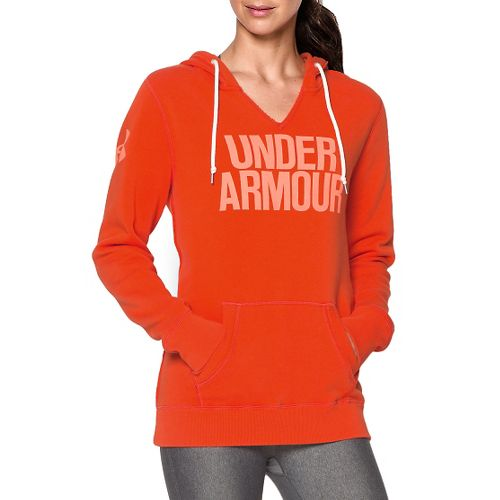 Womens Under Armour Favorite Fleece Wordmark Long Sleeve Hooded Technical Tops - Dark Orange S ...