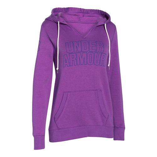 Womens Under Armour Favorite Fleece Wordmark Hoodie & Sweatshirts Technical Tops - Mega Magenta ...