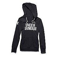 Womens Under Armour Favorite Fleece Wordmark Long Sleeve Hooded Technical Tops