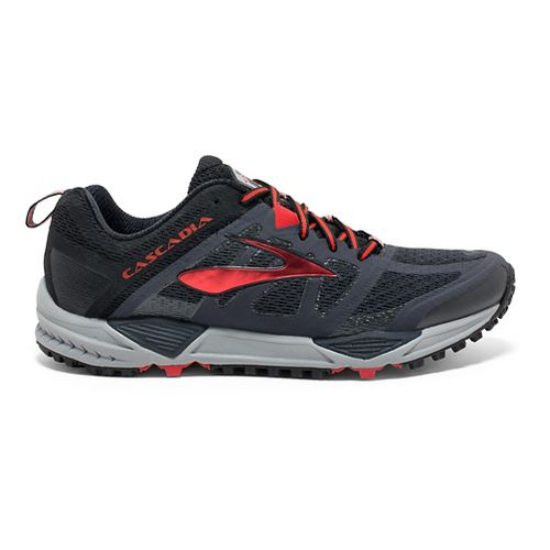 Mens Brooks Cascadia 11 Trail Running Shoe - Black/Red 7