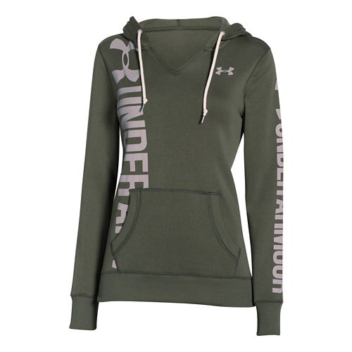 Womens Under Armour Favorite Fleece Long Sleeve Hooded Technical Tops - Downtown Green XS