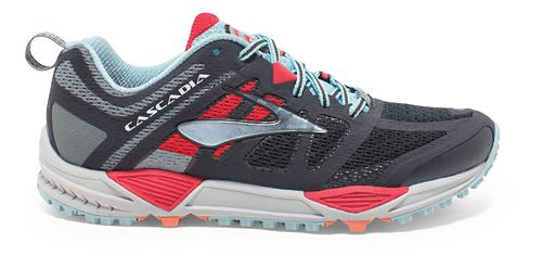 Womens Brooks Cascadia 11 Trail Running Shoe - Anthracite/Hibiscus 6