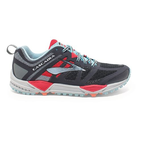 Womens Brooks Cascadia 11 Trail Running Shoe - Anthracite/Hibiscus 10