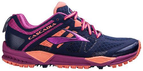 Womens Brooks Cascadia 11 Trail Running Shoe - Navy/Fuchsia 6.5