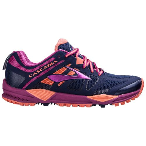 Womens Brooks Cascadia 11 Trail Running Shoe - Navy/Fuchsia 10