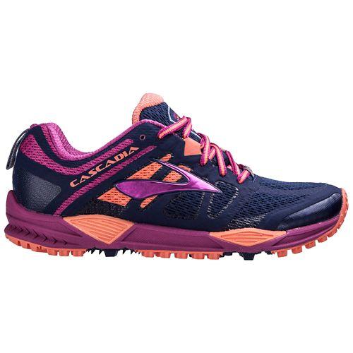 Womens Brooks Cascadia 11 Trail Running Shoe - Navy/Fuchsia 5
