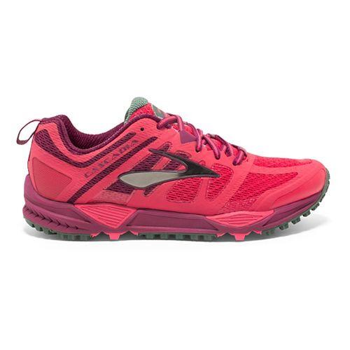 Womens Brooks Cascadia 11 Trail Running Shoe - Berry/Green 8.5