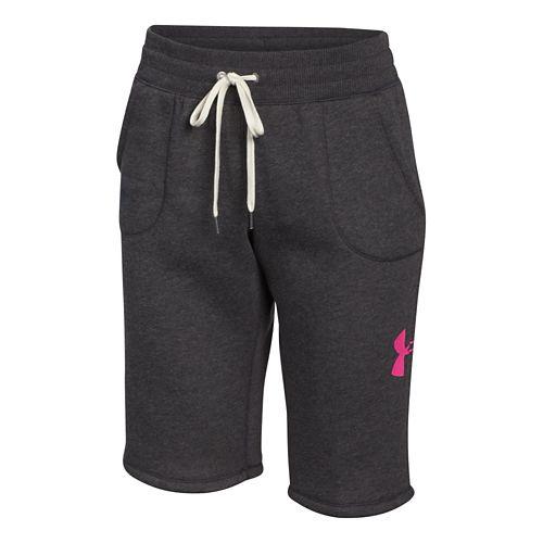 Womens Under Armour Favorite Fleece Boyfriend Unlined Shorts - Carbon/Rebel Pink L