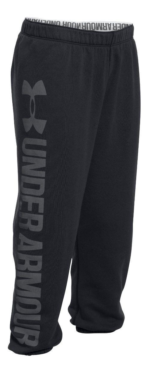 Womens Under Armour Favorite Fleece Capris Pants - Black/Black M