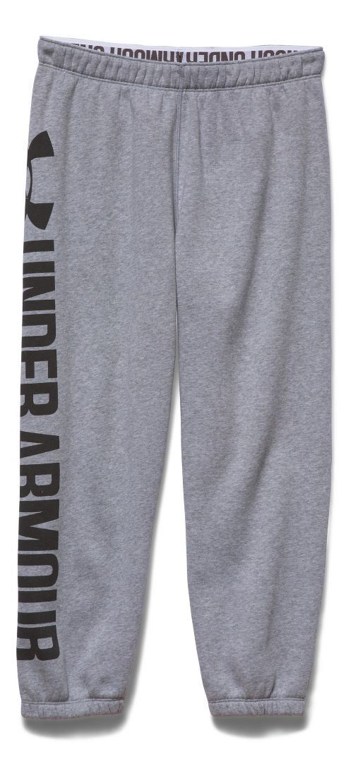 Womens Under Armour Favorite Fleece Capris Pants - True Grey Heather S