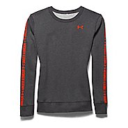 Womens Under Armour Favorite Fleece Graphic Crew Long Sleeve No Zip Technical Tops