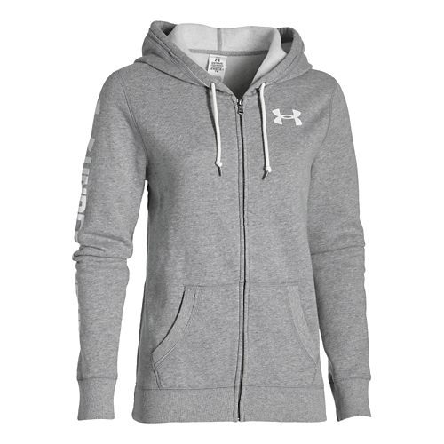 Womens Under Armour Favorite Fleece Full-Zip Warm Up Hooded Jackets - True Grey Heather M ...