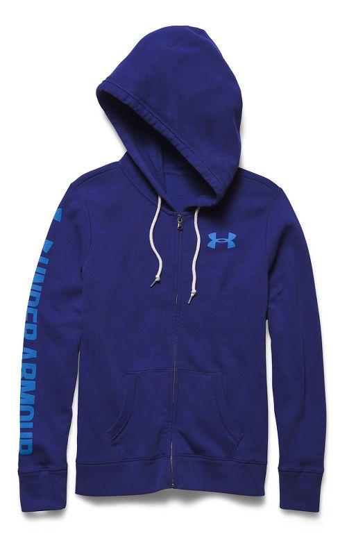 Womens Under Armour Favorite Fleece Full-Zip Warm Up Hooded Jackets - Europa Purple/Blue M