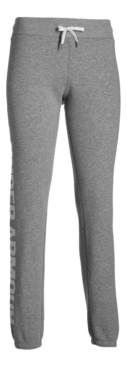 Womens Under Armour Favorite Fleece Boyfriend Pants - True Grey Heather S
