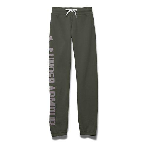 Womens Under Armour Favorite Fleece Boyfriend Pants - Downtown Green S