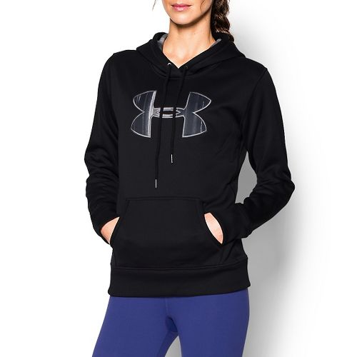 Womens Under Armour Storm Armour Fleece Printed Big Logo Long Sleeve Hooded Technical Tops - ...