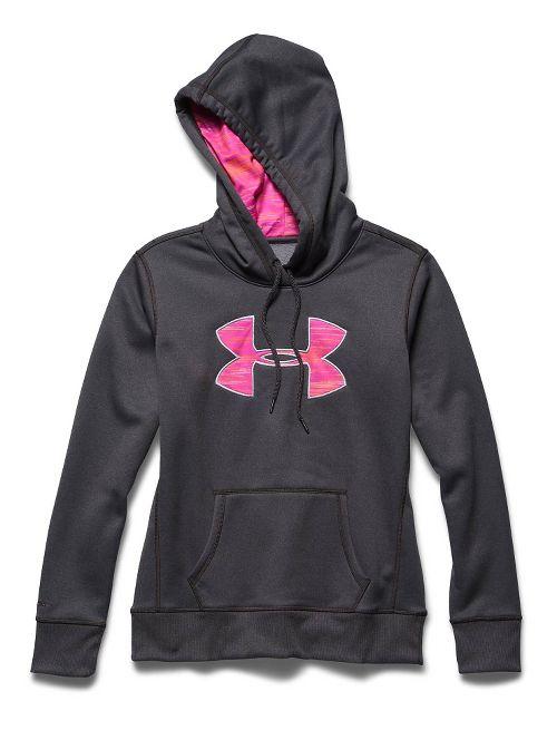 Womens Under Armour Storm Armour Fleece Printed Big Logo Long Sleeve Hooded Technical Tops - ...