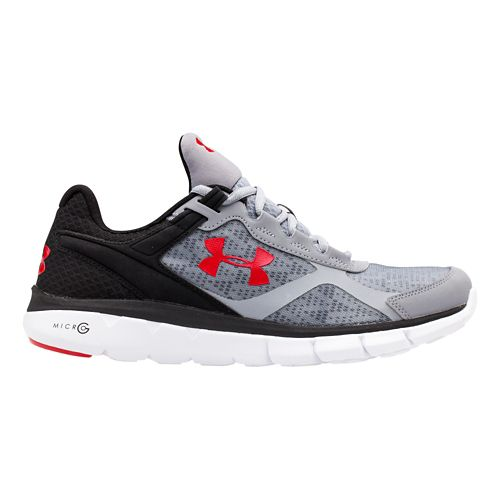 Mens Under Armour Micro G Velocity RN Running Shoe - Steel/Red 11.5