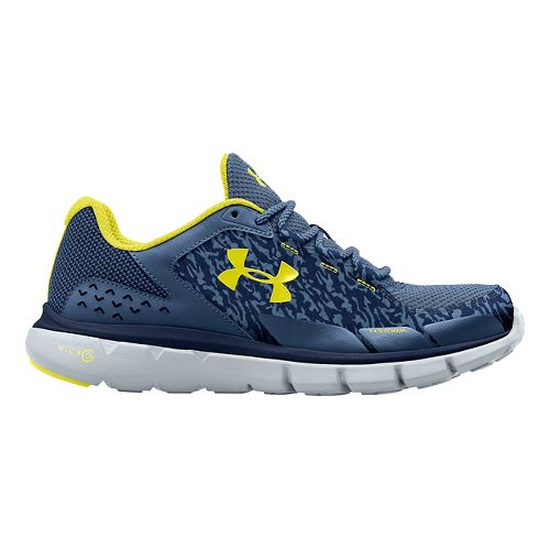 Mens Under Armour Micro G Velocity RN Storm Running Shoe - Blue/Sunbleached 10