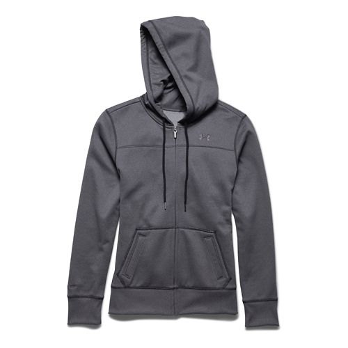 Womens Under Armour Storm Armour Fleece Full-Zip Warm Up Hooded Jackets - Carbon/Grey M
