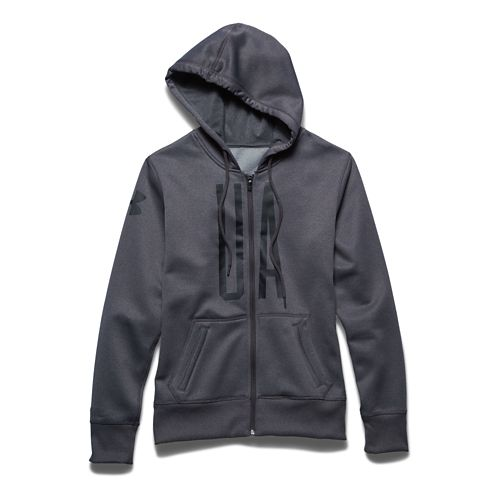 Womens Under Armour Storm Armour Fleece Full-Zip Graphic Warm Up Hooded Jackets - Carbon/Black ...