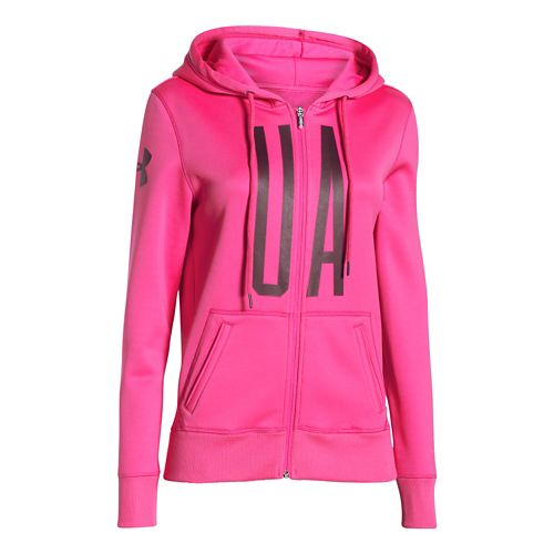 Womens Under Armour Storm Armour Fleece Full-Zip Graphic Warm Up Hooded Jackets - Rebel Pink/Ox ...